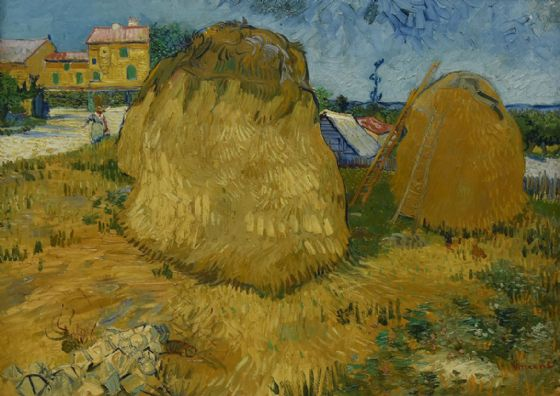 Van Gogh, Vincent: Wheat Stacks in Provence. Fine Art Print/Poster. Sizes: A4/A3/A2/A1 (004198)
